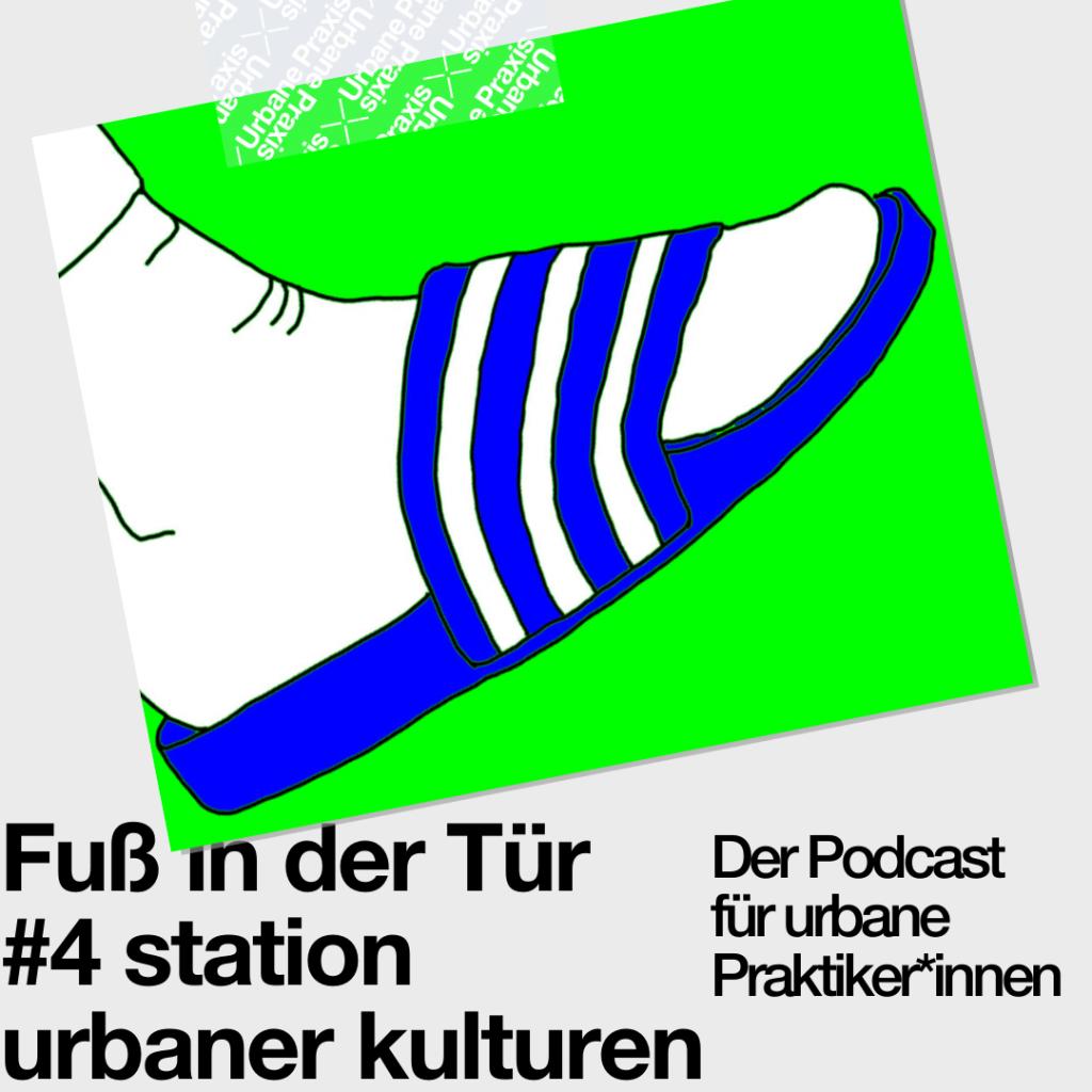 Illustration der Adilette, der von der station der urbanen kulturen ausgewählten Schuh